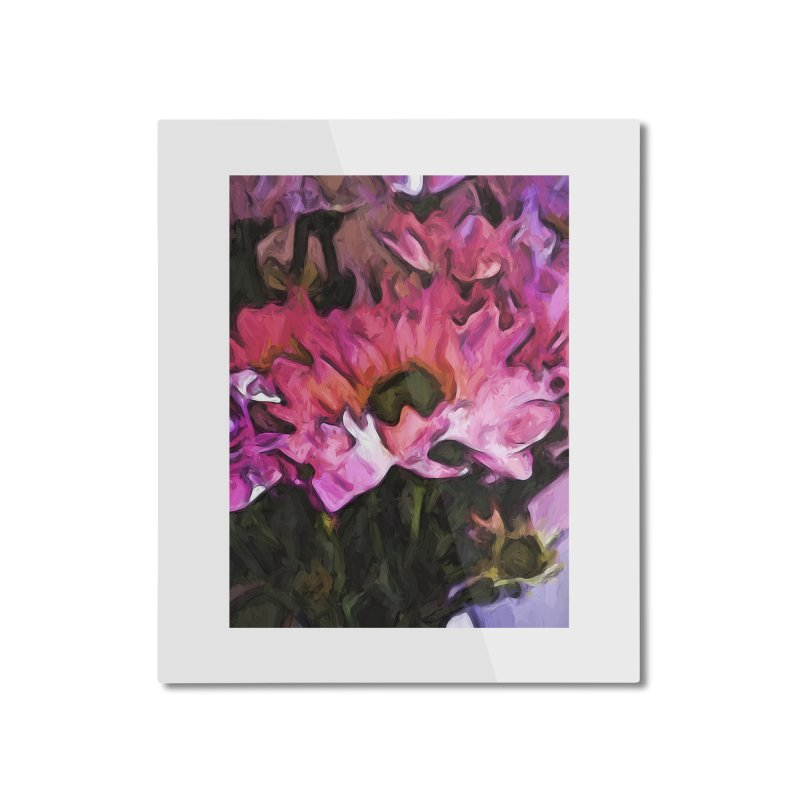 Pink Flowers and Green Leaves 5 Home Mounted Aluminum Print by jackievano's Artist Shop