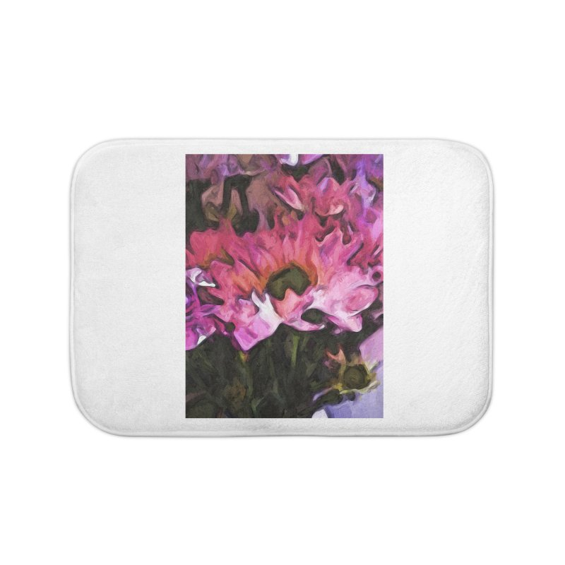 Pink Flowers and Green Leaves 5 Home Bath Mat by jackievano's Artist Shop
