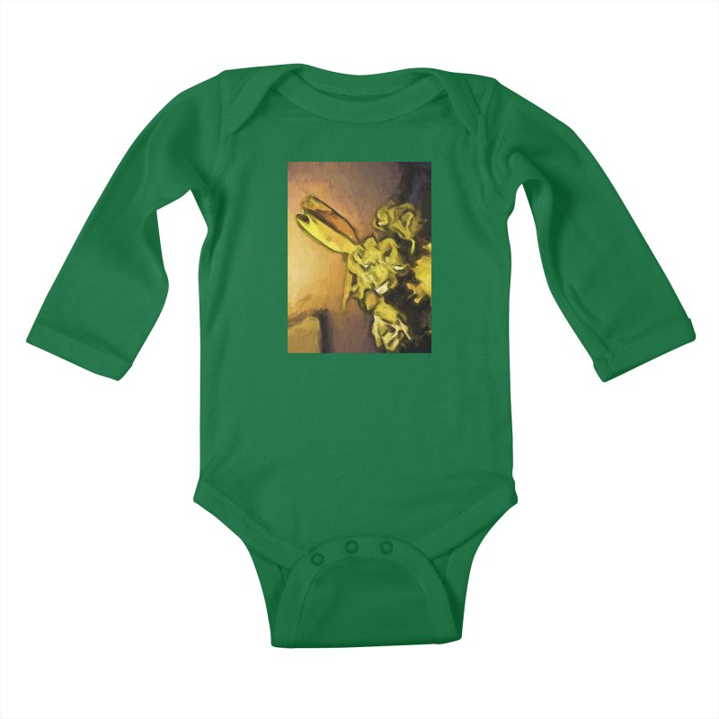 Yellow Flowers and White Roses 1 Kids Baby Longsleeve Bodysuit by jackievano's Artist Shop