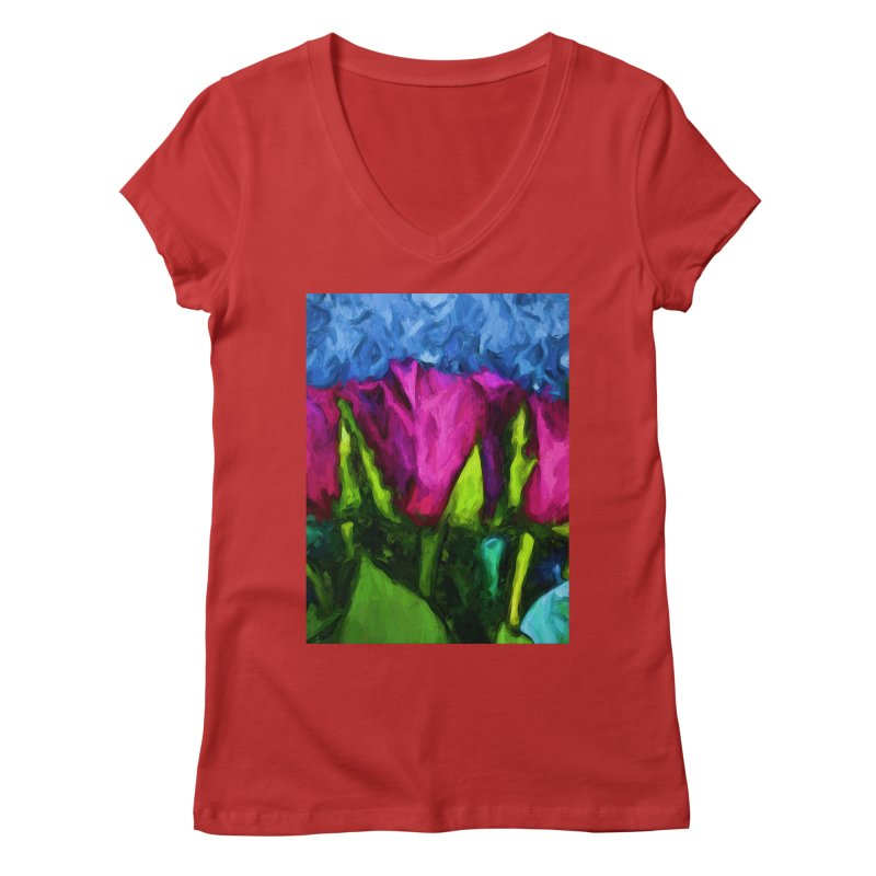 Lovers' Roses 1 Women's V-Neck by jackievano's Artist Shop