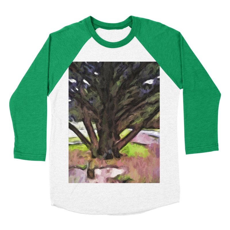 Avenue of Trees with a Pink Ground 1 Men's Baseball Triblend T-Shirt by jackievano's Artist Shop