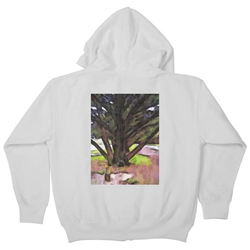 Avenue of Trees with a Pink Ground 1 Kids Zip-Up Hoody by jackievano's Artist Shop