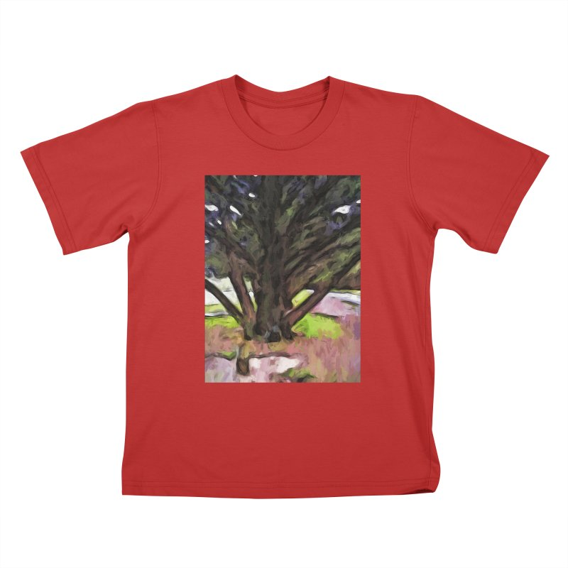 Avenue of Trees with a Pink Ground 1 Kids T-Shirt by jackievano's Artist Shop