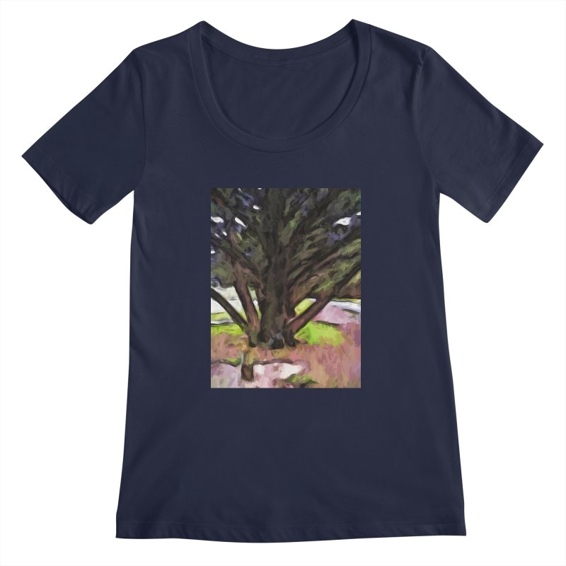 Avenue of Trees with a Pink Ground 1 Women's Scoopneck by jackievano's Artist Shop