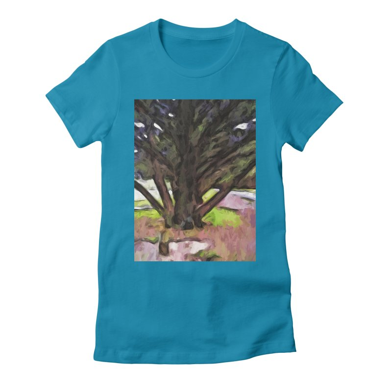 Avenue of Trees with a Pink Ground 1 Women's Fitted T-Shirt by jackievano's Artist Shop