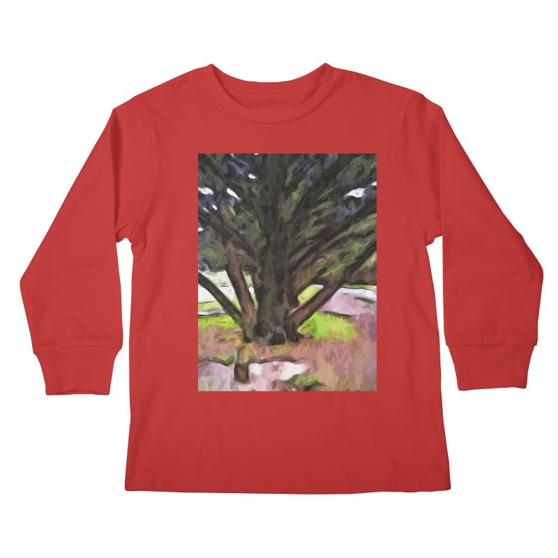 Avenue of Trees with a Pink Ground 1 Kids Longsleeve T-Shirt by jackievano's Artist Shop