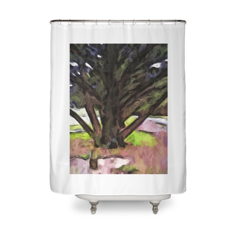 Avenue of Trees with a Pink Ground 1 Home Shower Curtain by jackievano's Artist Shop