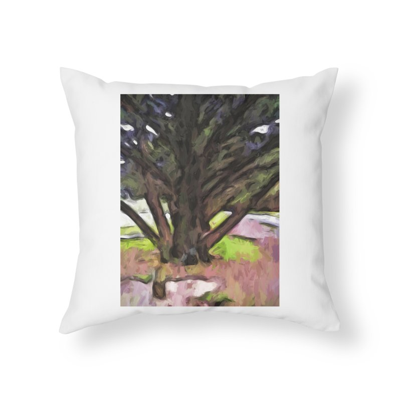 Avenue of Trees with a Pink Ground 1 Home Throw Pillow by jackievano's Artist Shop