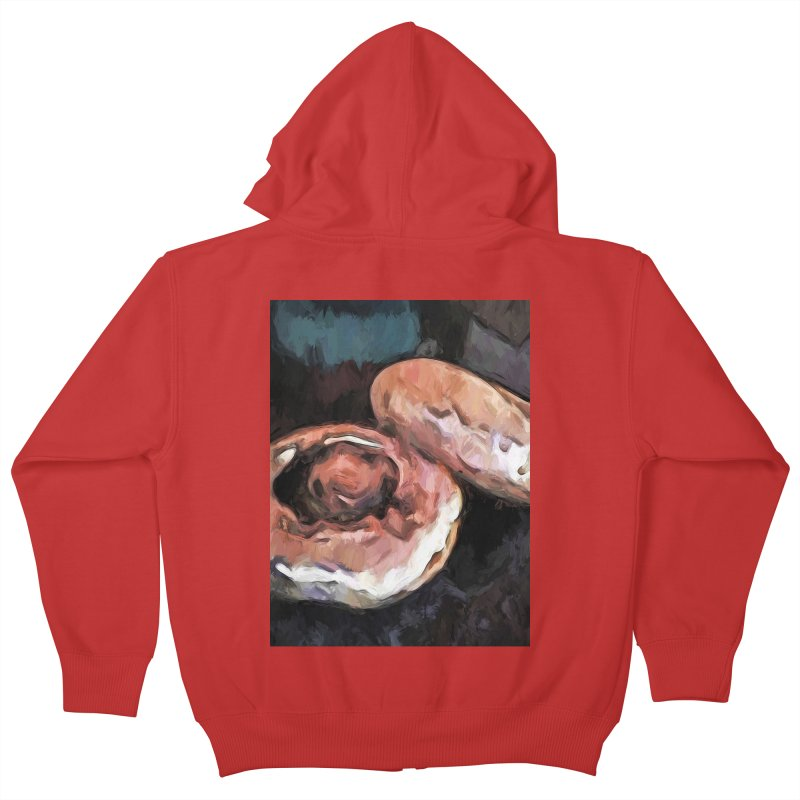 Mushrooms 1 Kids Zip-Up Hoody by jackievano's Artist Shop