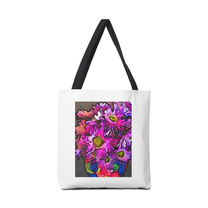 The Pink and Purple Flowers in the Red and Blue Vase Accessories Bag by jackievano's Artist Shop