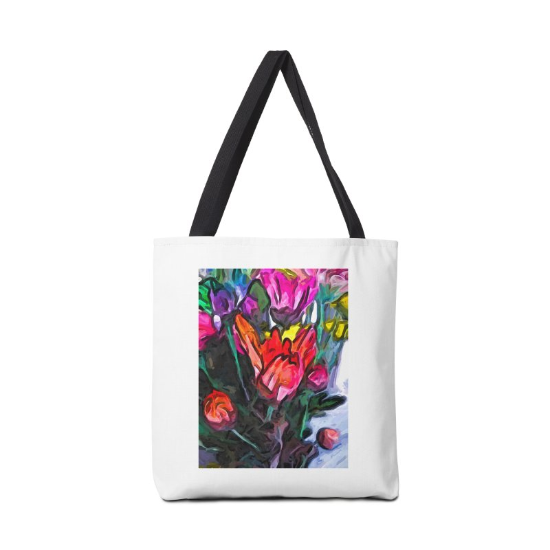The Red Flower and the Rainbow Flowers Accessories Bag by jackievano's Artist Shop