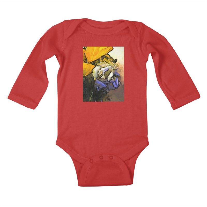 The White Rose and the Yellow Petals Kids Baby Longsleeve Bodysuit by jackievano's Artist Shop
