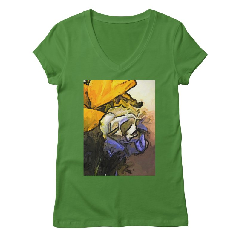The White Rose and the Yellow Petals Women's V-Neck by jackievano's Artist Shop