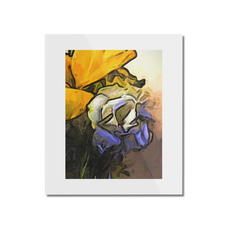The White Rose and the Yellow Petals Home Mounted Acrylic Print by jackievano's Artist Shop