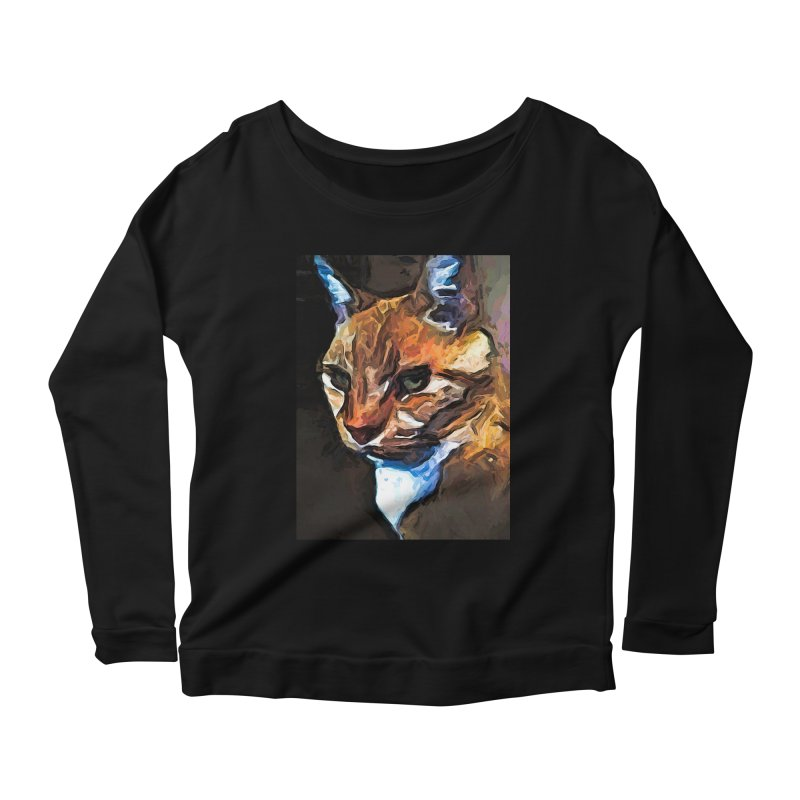 The Gold Cat with the Stage Presence Women's Longsleeve Scoopneck  by jackievano's Artist Shop