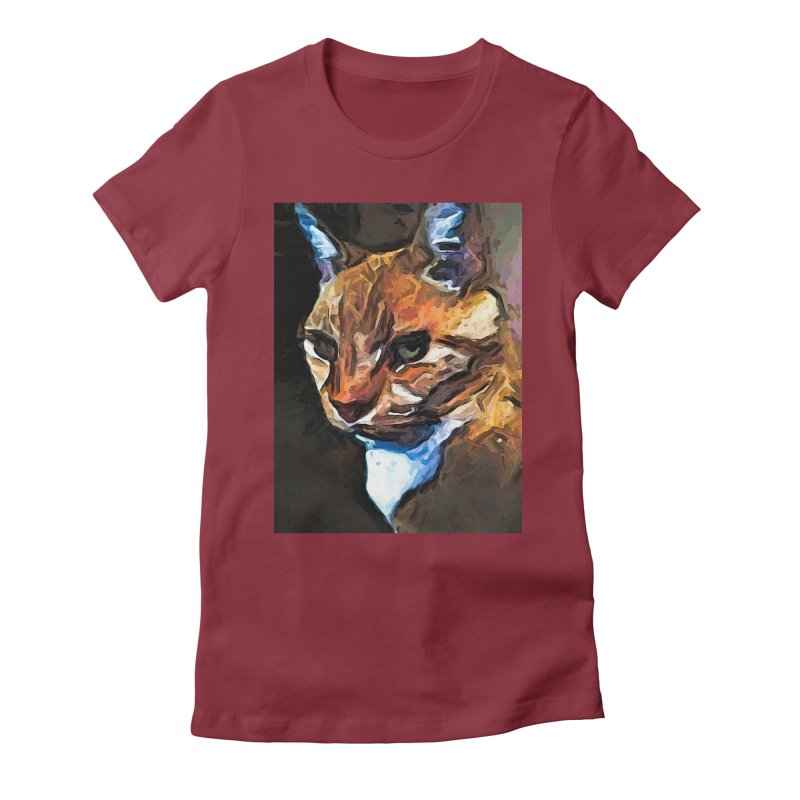 The Gold Cat with the Stage Presence Women's Fitted T-Shirt by jackievano's Artist Shop