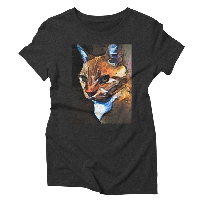 The Gold Cat with the Stage Presence Women's Triblend T-Shirt by jackievano's Artist Shop