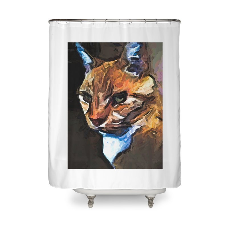 The Gold Cat with the Stage Presence Home Shower Curtain by jackievano's Artist Shop