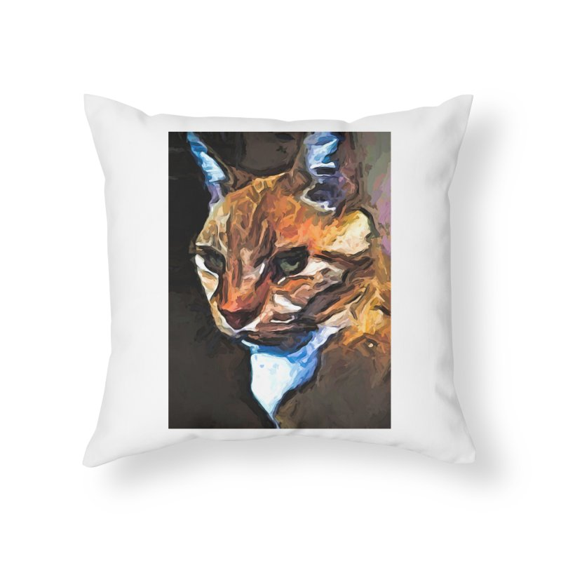 The Gold Cat with the Stage Presence Home Throw Pillow by jackievano's Artist Shop