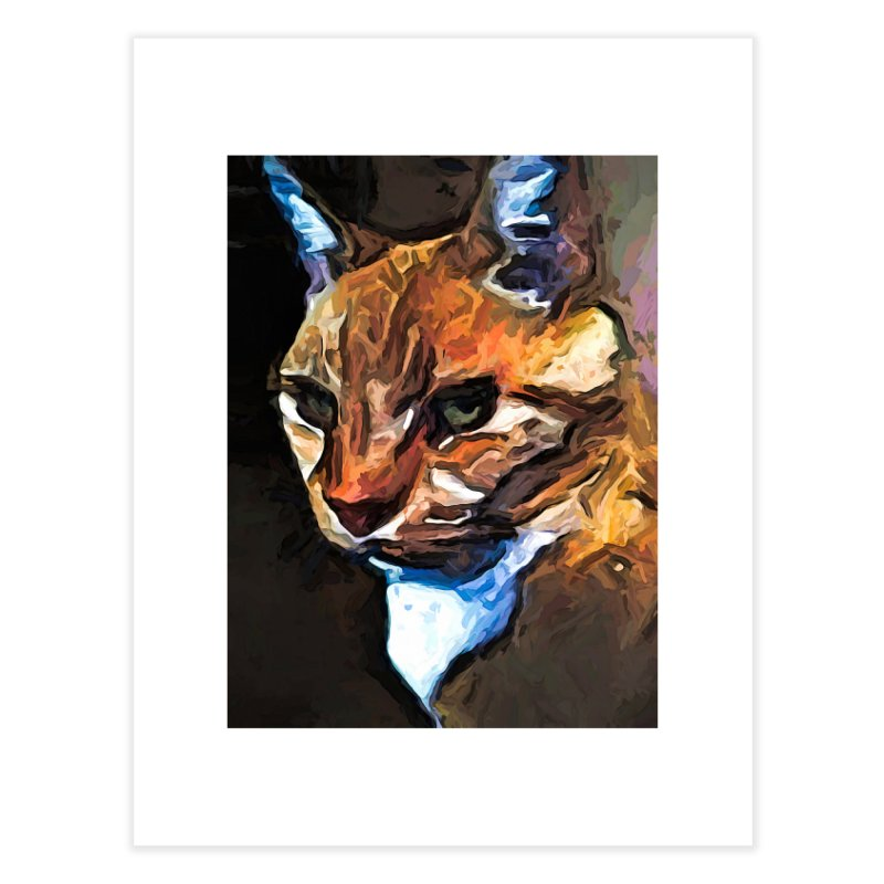 The Gold Cat with the Stage Presence Home Fine Art Print by jackievano's Artist Shop