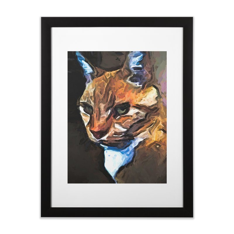 The Gold Cat with the Stage Presence Home Framed Fine Art Print by jackievano's Artist Shop