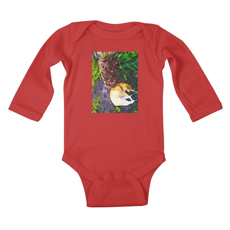 The Sleeping Cat and the Dead Tree Fern Kids Baby Longsleeve Bodysuit by jackievano's Artist Shop