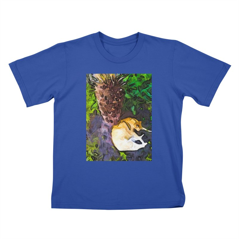 The Sleeping Cat and the Dead Tree Fern Kids T-Shirt by jackievano's Artist Shop