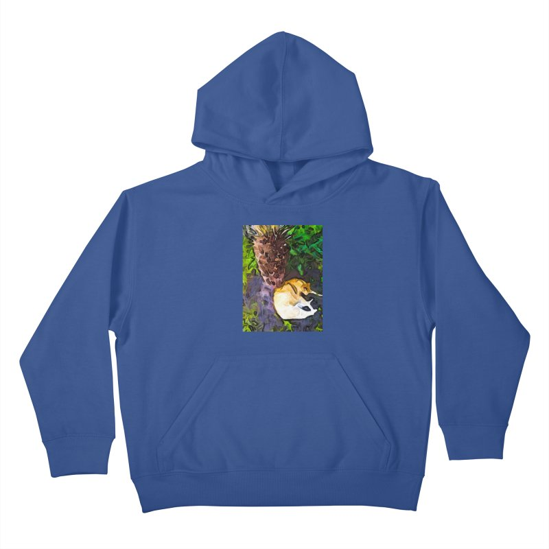The Sleeping Cat and the Dead Tree Fern Kids Pullover Hoody by jackievano's Artist Shop