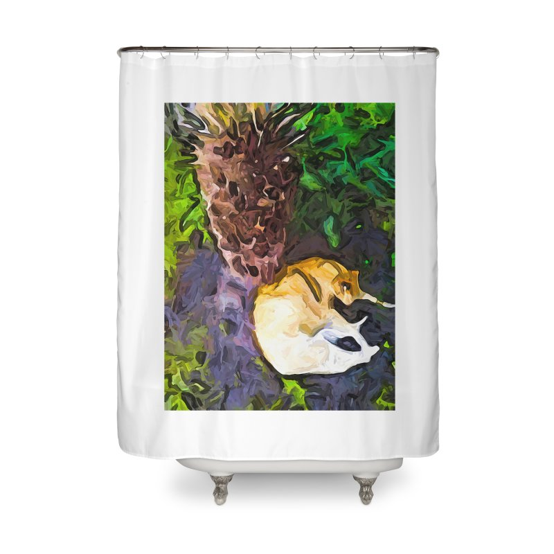 The Sleeping Cat and the Dead Tree Fern Home Shower Curtain by jackievano's Artist Shop