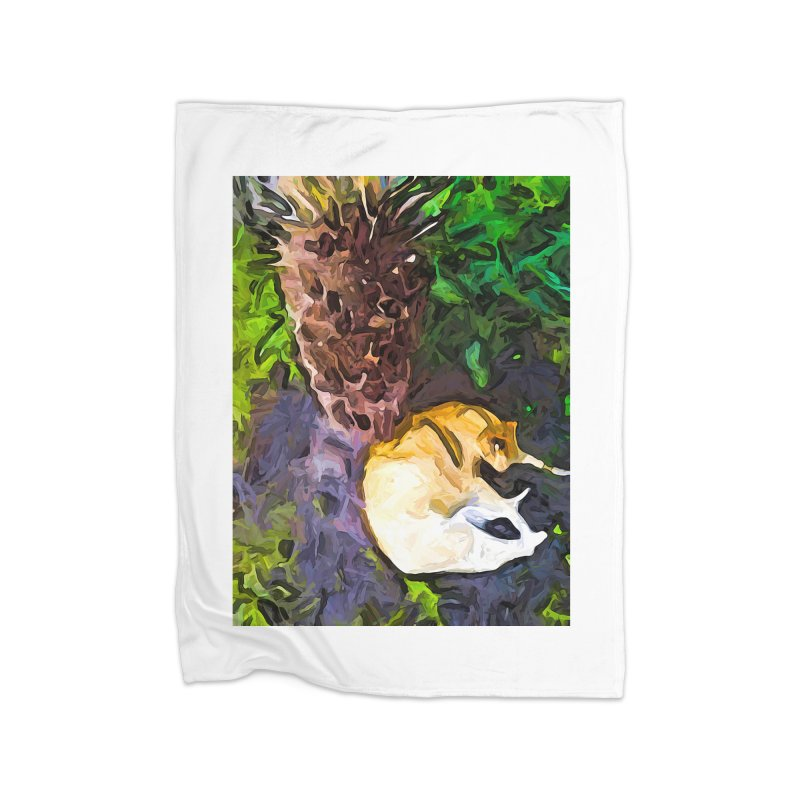 The Sleeping Cat and the Dead Tree Fern Home Blanket by jackievano's Artist Shop