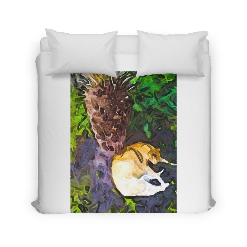 The Sleeping Cat and the Dead Tree Fern Home Duvet by jackievano's Artist Shop