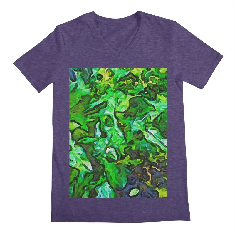The Tropical Green Leaves with the Wings Men's V-Neck by jackievano's Artist Shop