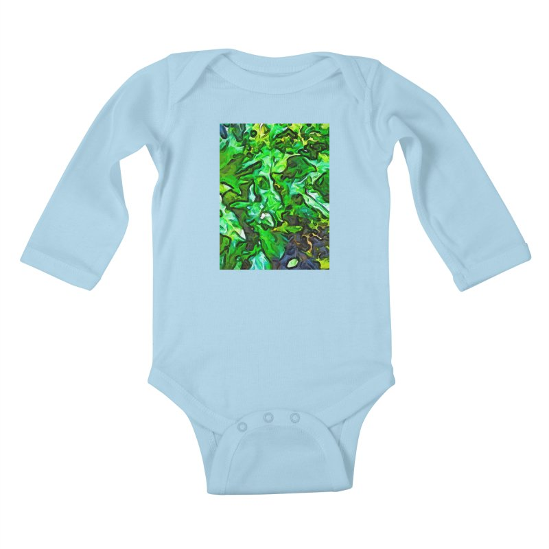 The Tropical Green Leaves with the Wings Kids Baby Longsleeve Bodysuit by jackievano's Artist Shop