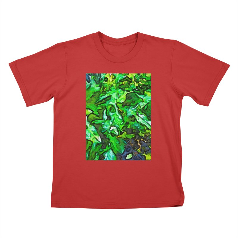 The Tropical Green Leaves with the Wings Kids T-Shirt by jackievano's Artist Shop