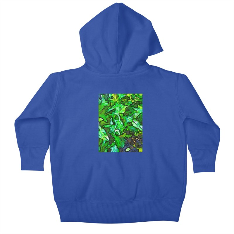 The Tropical Green Leaves with the Wings Kids Baby Zip-Up Hoody by jackievano's Artist Shop