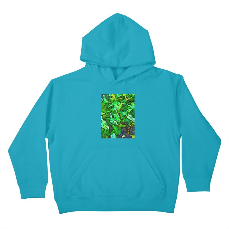 The Tropical Green Leaves with the Wings Kids Pullover Hoody by jackievano's Artist Shop