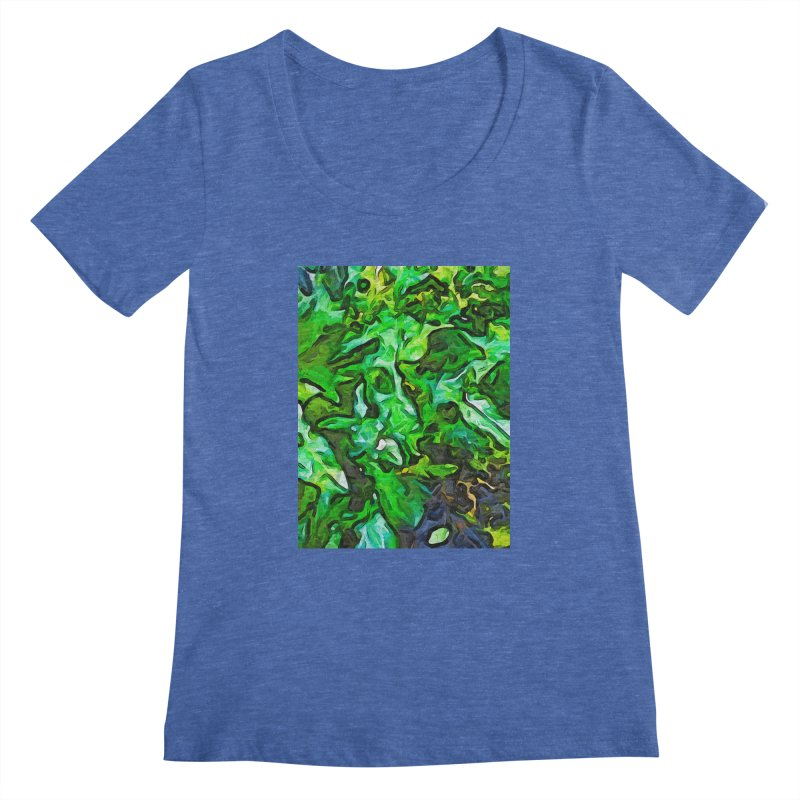 The Tropical Green Leaves with the Wings Women's Scoopneck by jackievano's Artist Shop