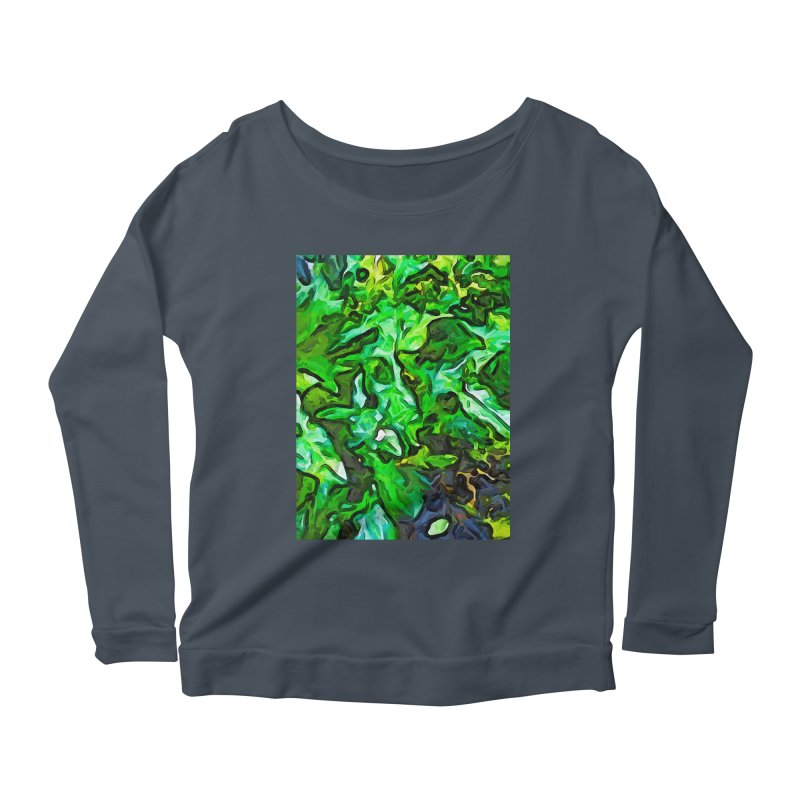 The Tropical Green Leaves with the Wings Women's Longsleeve Scoopneck  by jackievano's Artist Shop