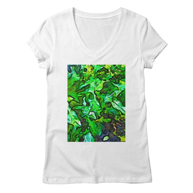 The Tropical Green Leaves with the Wings Women's V-Neck by jackievano's Artist Shop