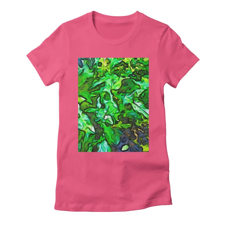 The Tropical Green Leaves with the Wings Women's Fitted T-Shirt by jackievano's Artist Shop