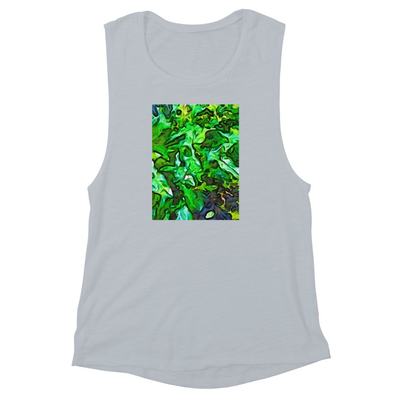 The Tropical Green Leaves with the Wings Women's Muscle Tank by jackievano's Artist Shop