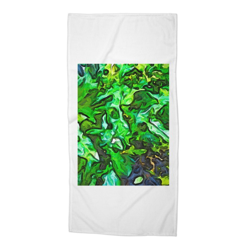 The Tropical Green Leaves with the Wings Accessories Beach Towel by jackievano's Artist Shop