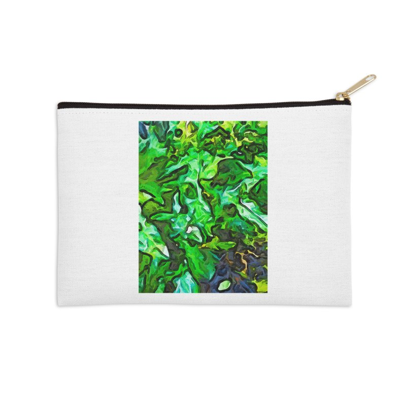 The Tropical Green Leaves with the Wings Accessories Zip Pouch by jackievano's Artist Shop