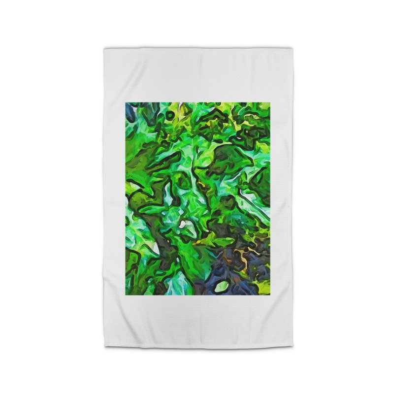 The Tropical Green Leaves with the Wings Home Rug by jackievano's Artist Shop