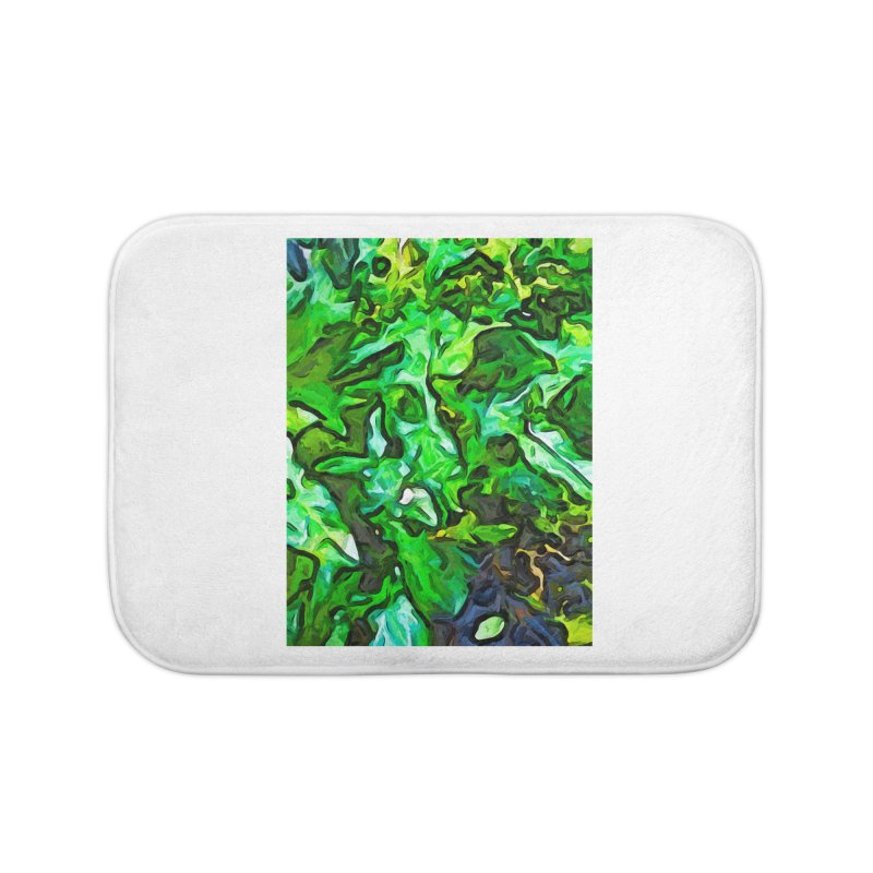 The Tropical Green Leaves with the Wings Home Bath Mat by jackievano's Artist Shop