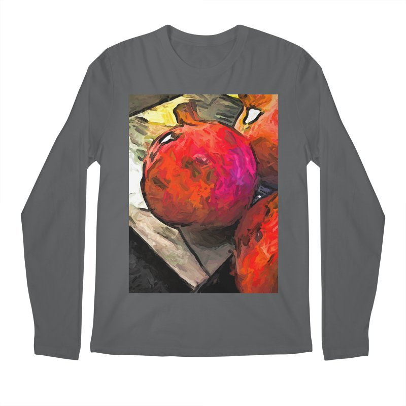 The Red Pomegranates on the Marble Chopping Board Men's Longsleeve T-Shirt by jackievano's Artist Shop