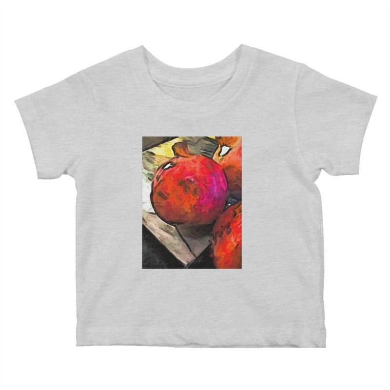 The Red Pomegranates on the Marble Chopping Board Kids Baby T-Shirt by jackievano's Artist Shop