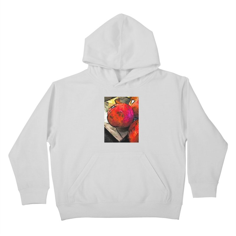 The Red Pomegranates on the Marble Chopping Board Kids Pullover Hoody by jackievano's Artist Shop