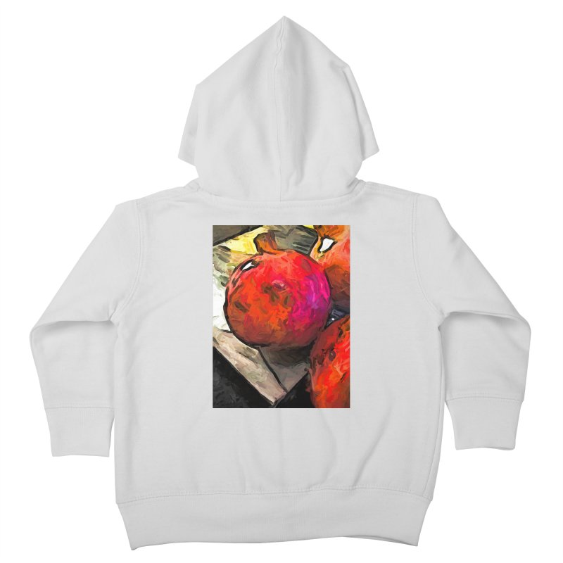 The Red Pomegranates on the Marble Chopping Board Kids Toddler Zip-Up Hoody by jackievano's Artist Shop