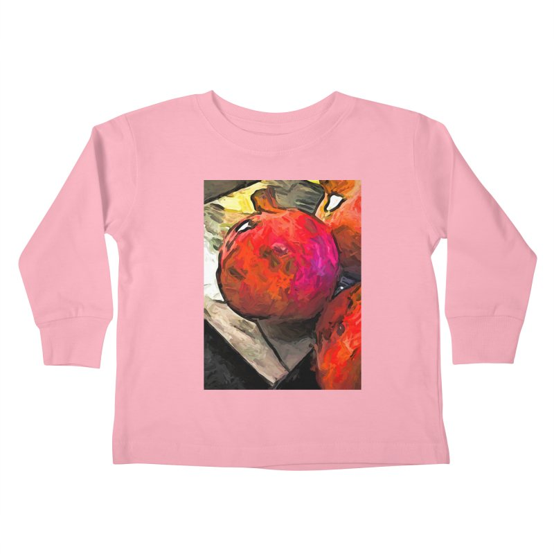 The Red Pomegranates on the Marble Chopping Board Kids Toddler Longsleeve T-Shirt by jackievano's Artist Shop
